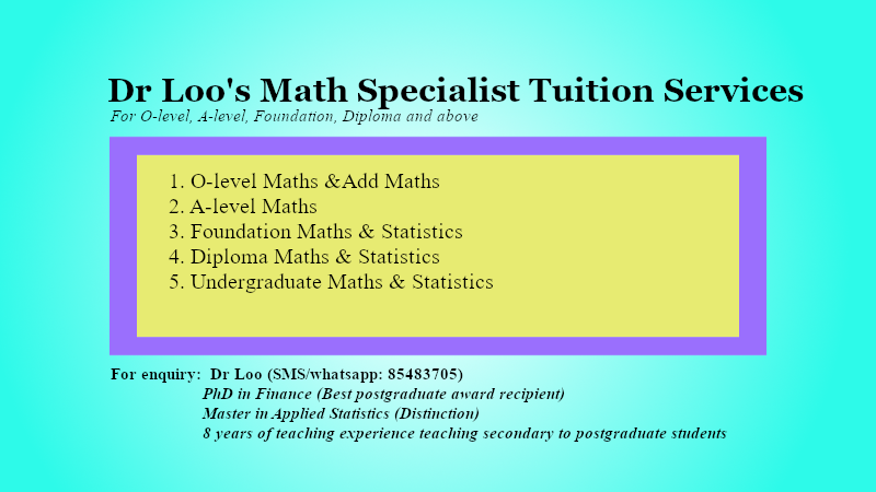 Secondary JC Mathematics Home Tuition Singapore